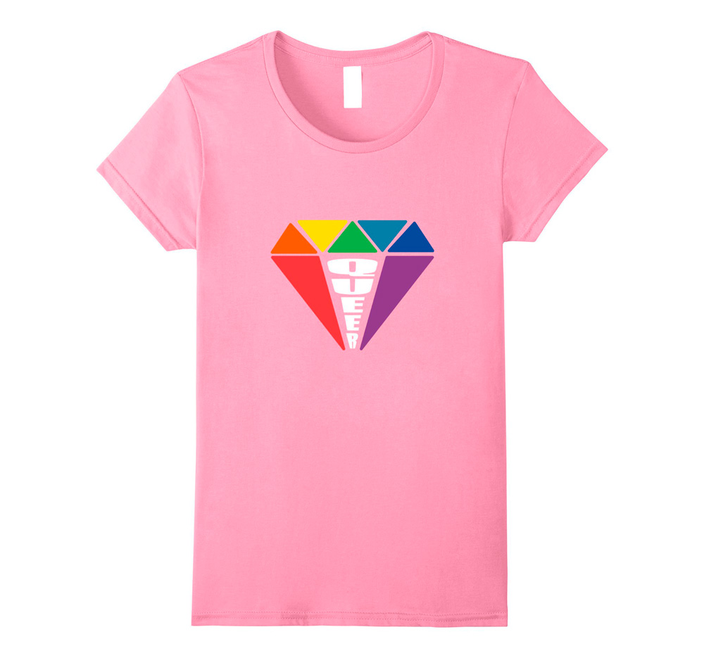 Queer gay lesbian gender neutral jewel rainbow t-shirt